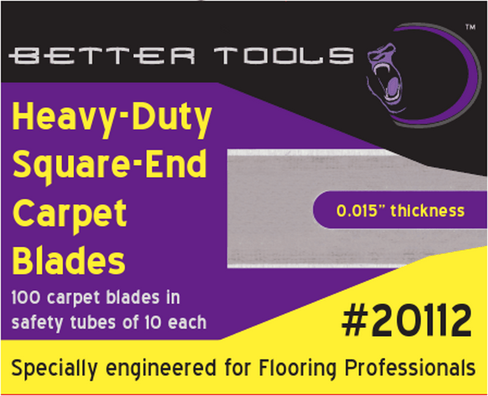 "Better Tools 20112 Heavy-Duty 0.015"" Silver Square Corner Carpet Blades ( 10 blades per tube, 10 tubes per box (100 blades total)"