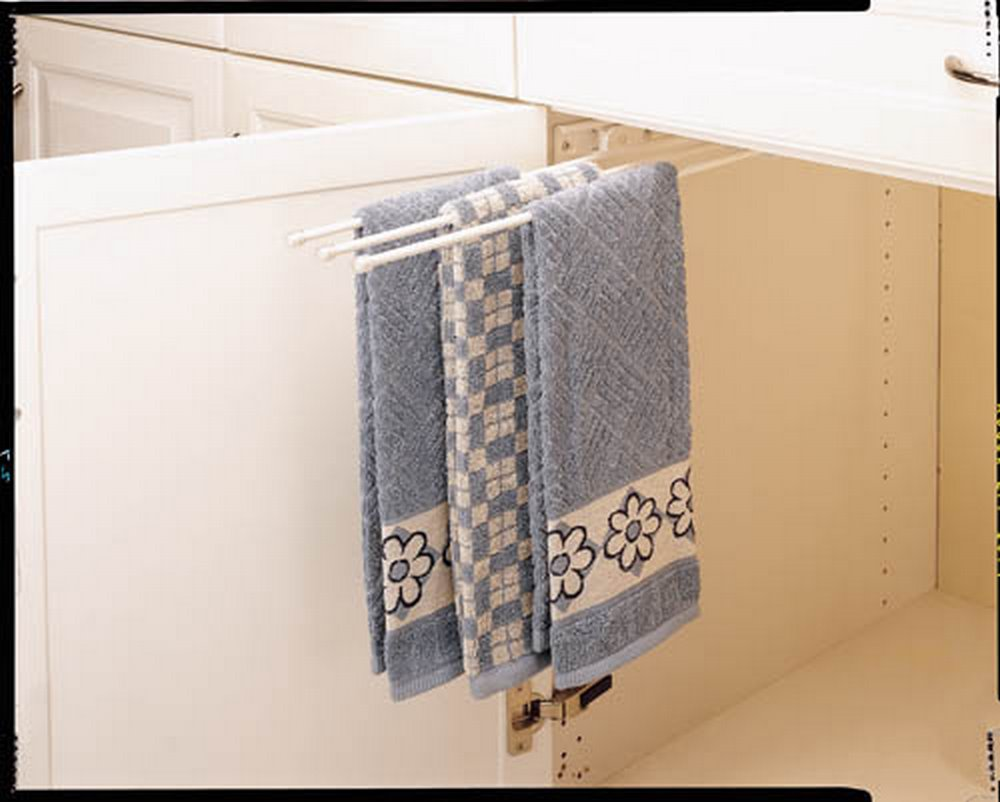 Rev-A-Shelf 3 Prong Undersink Pullout Wire Towel Holder - White
