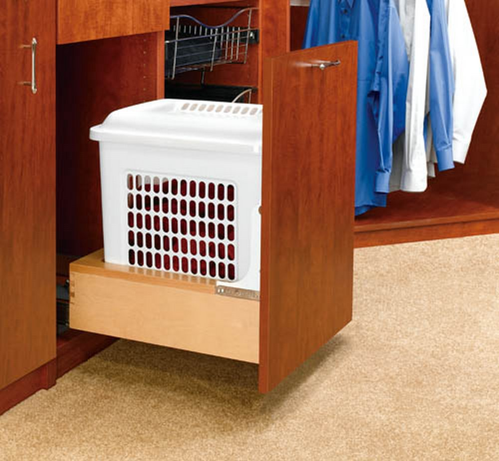 "Rev-A-Shelf 4WH-RM-15DM-1 ""Rev-A-Motion"" Pull-Out Laundry Hamper with Lid - Natural / White"