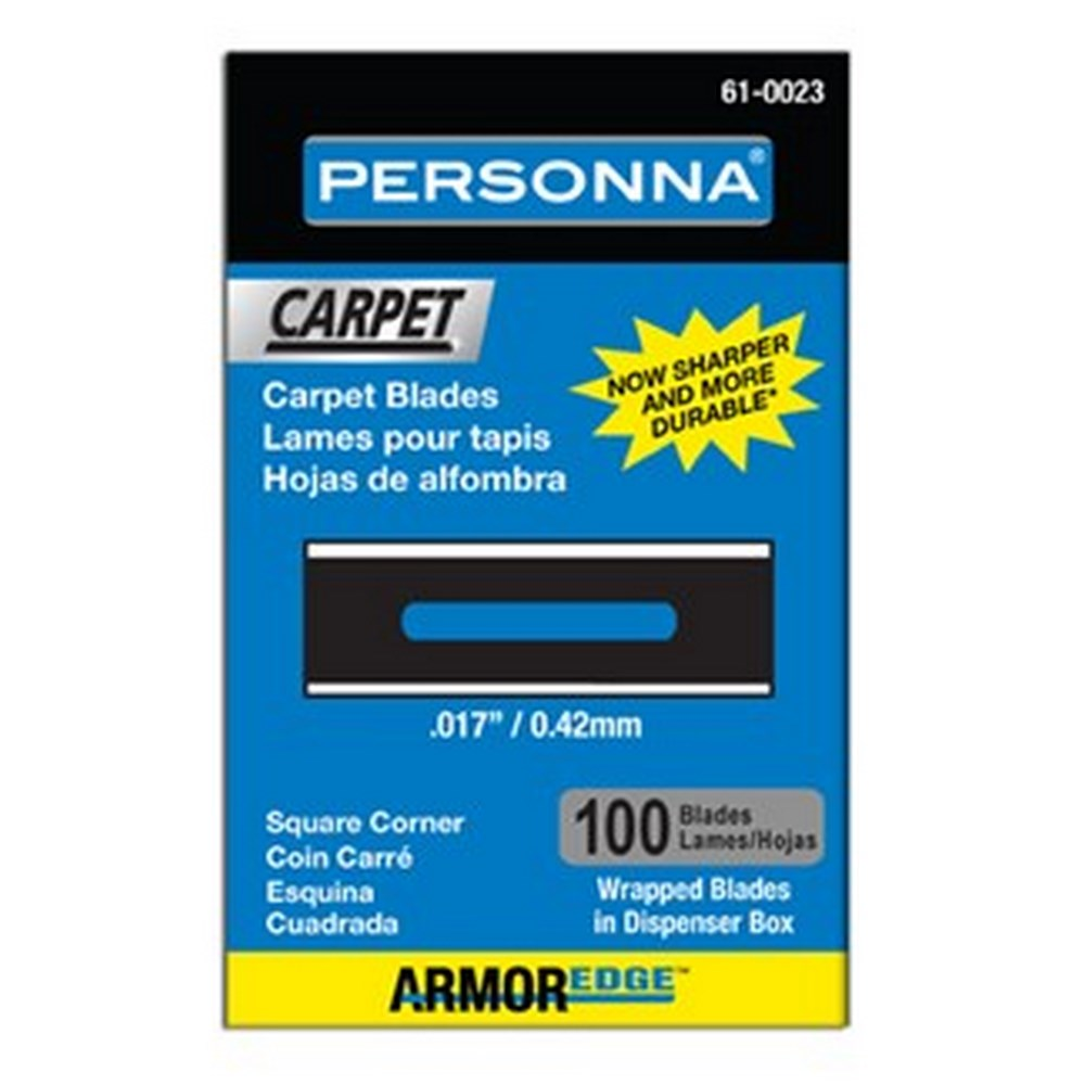 PERSONNA 61-0023 Armor Edge Heavy-Duty Square Corner Blue Carpet Blades - 100 Pack