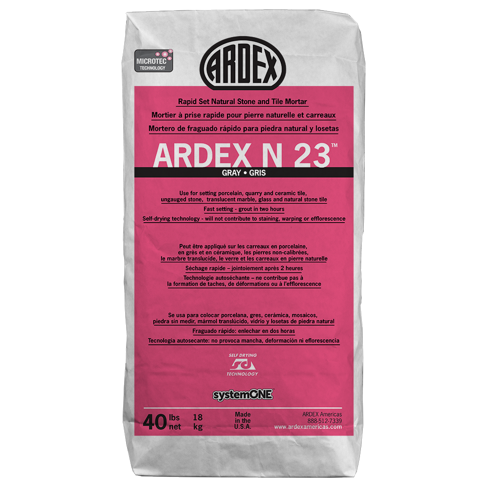 Ardex N23 MICROTEC Rapid Set Natural Stone and Tile Mortar (White) - 40 Lb. Bag