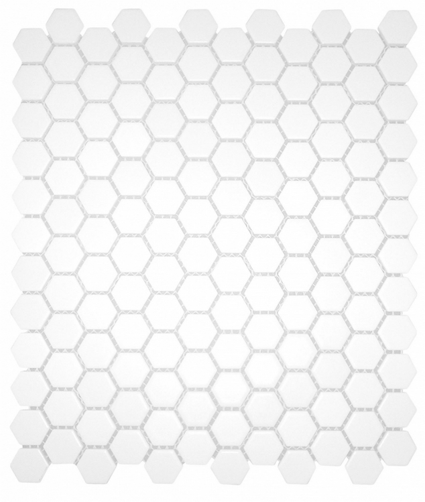 "Chesapeake Mosaics 1"" x 1"" Hexagon Glazed Porcelain Mosaic Tile - Matte White"