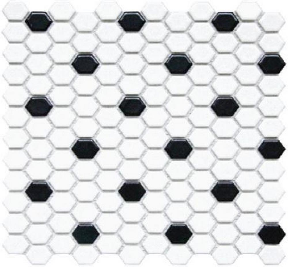 "Chesapeake Mosaics 1"" x 1"" Hexagon Glazed Porcelain Mosaic Tile - Matte White/Black"
