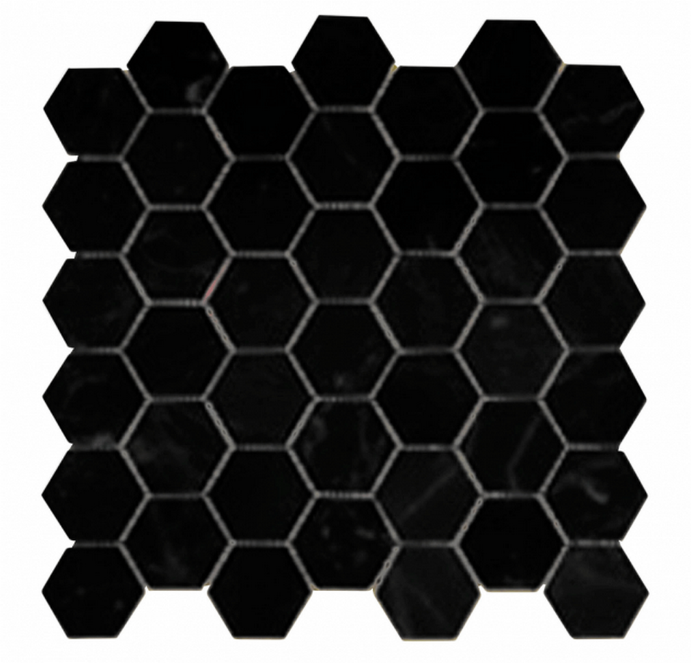 "Chesapeake Mosaics 2"" x 2"" Hexagon Glazed Porcelain Mosaic Tile - Matte Black"