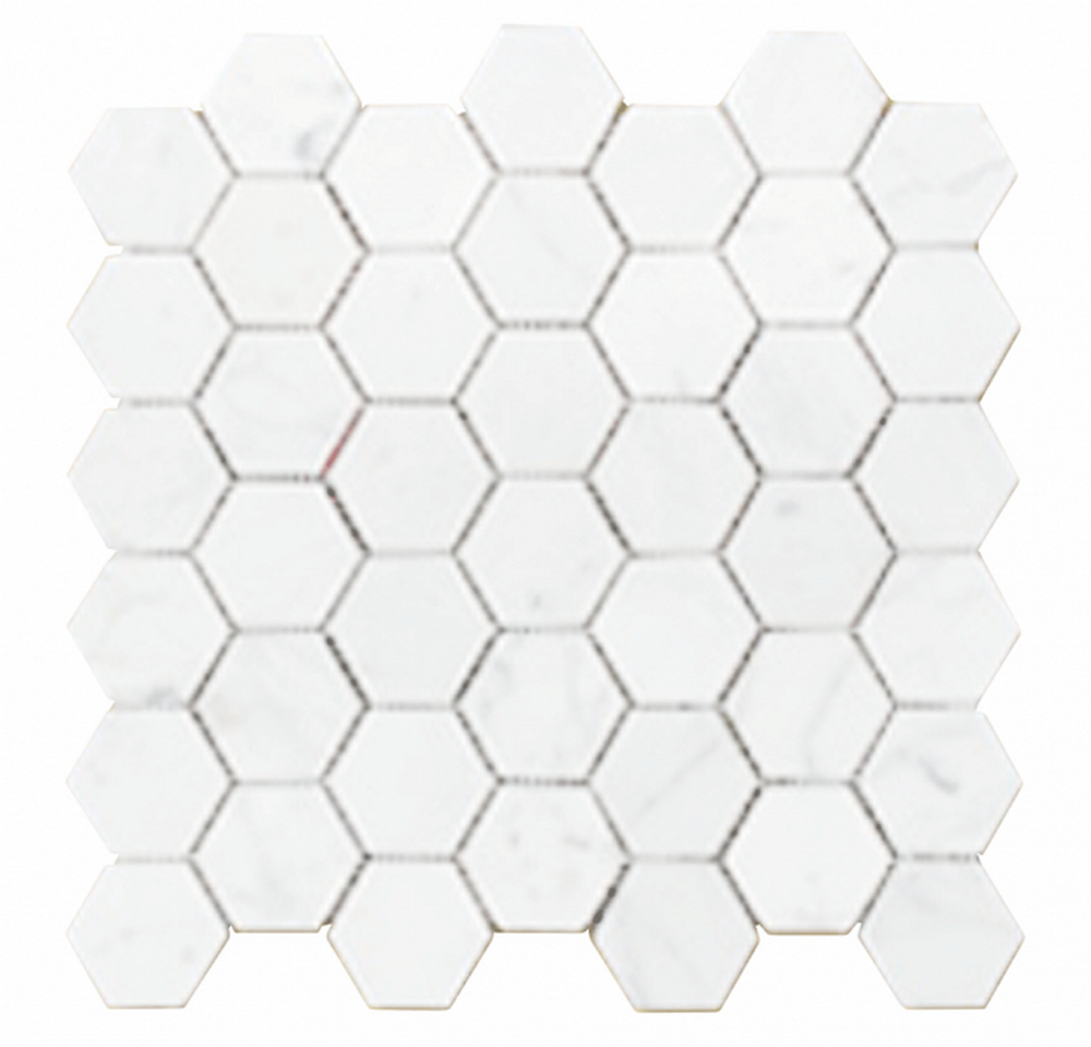 "Chesapeake Mosaics 2"" x 2"" Hexagon Glazed Porcelain Mosaic Tile - Matte White"