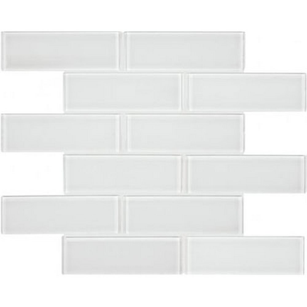 "Essentials Glass 2"" x 6"" Brick Mosaic-Ice"