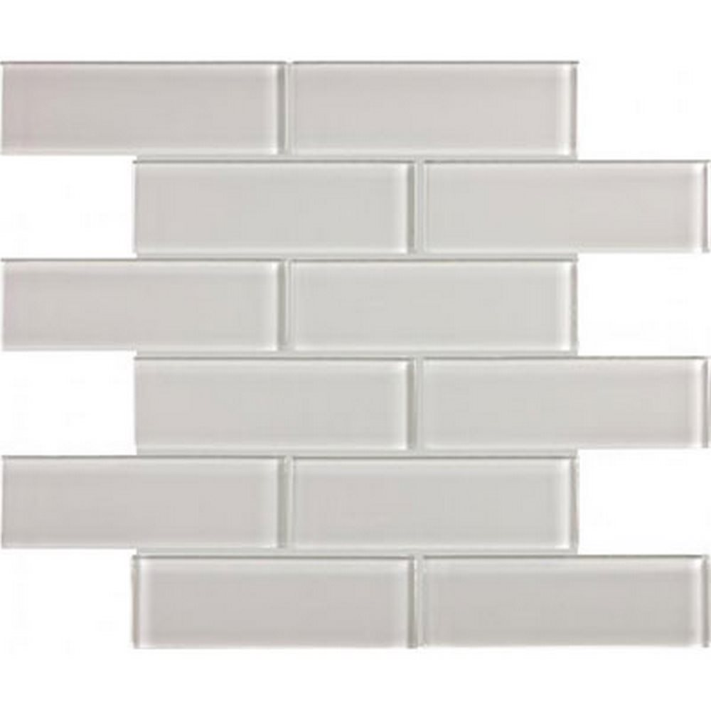"Essentials Glass 2"" x 6"" Brick Mosaic-Mist"