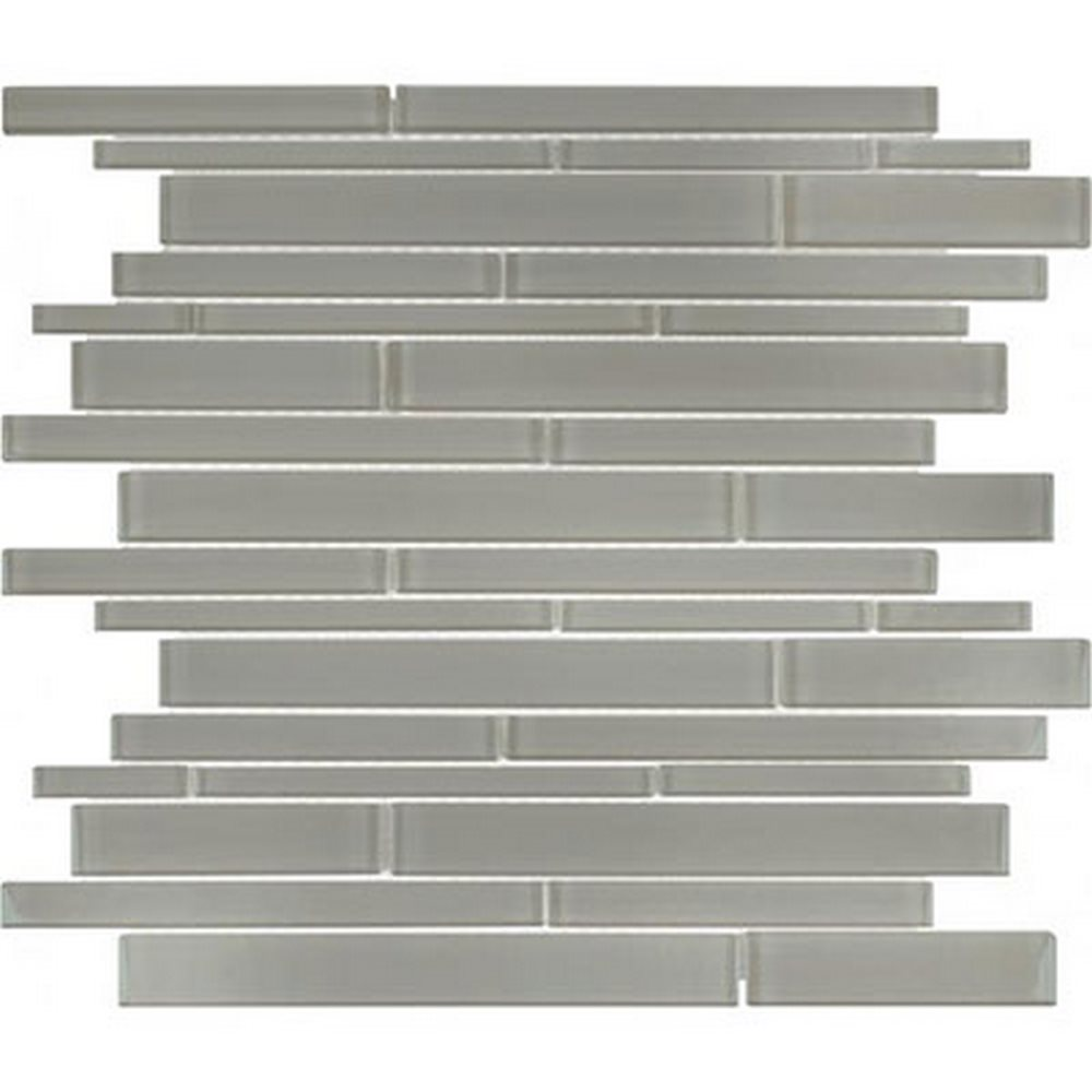 Essentials Glass Random Strip Mosaic-Smoke