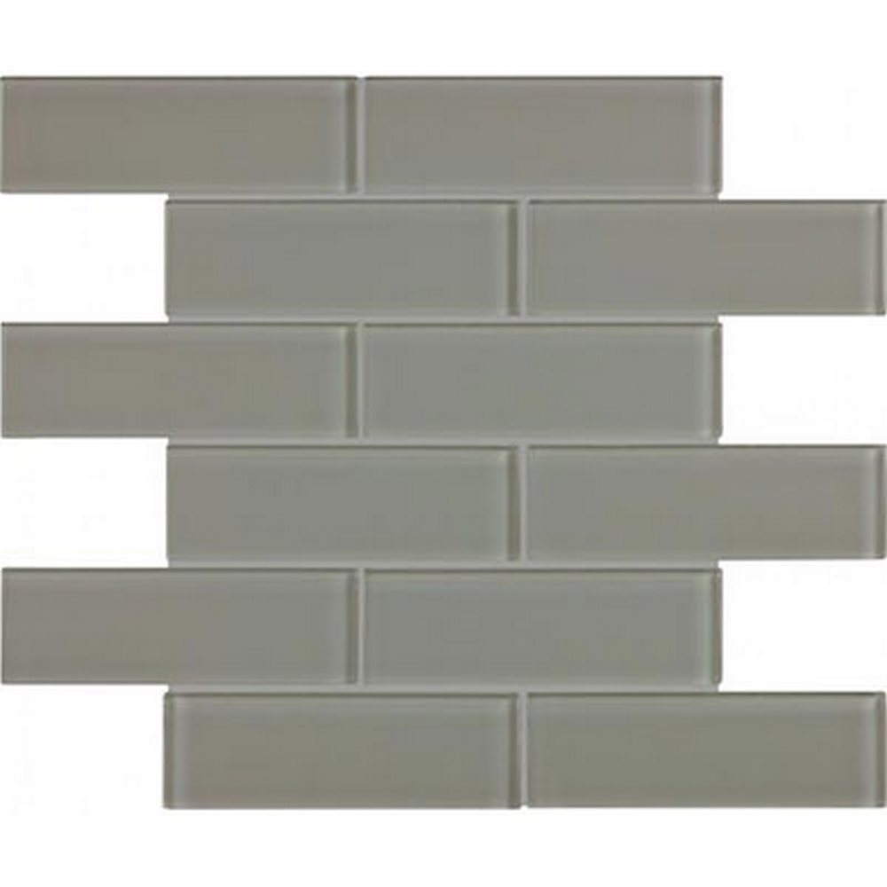 "Essentials Glass 2"" x 6"" Brick Mosaic-Smoke"