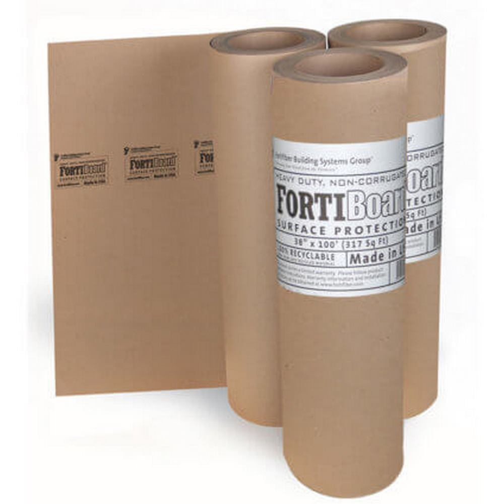 "Fortifiber FortiBoard Non-Corrugated Heavy Duty Floor Protection Material - 38"" x 100' (317 sq. ft. roll)"