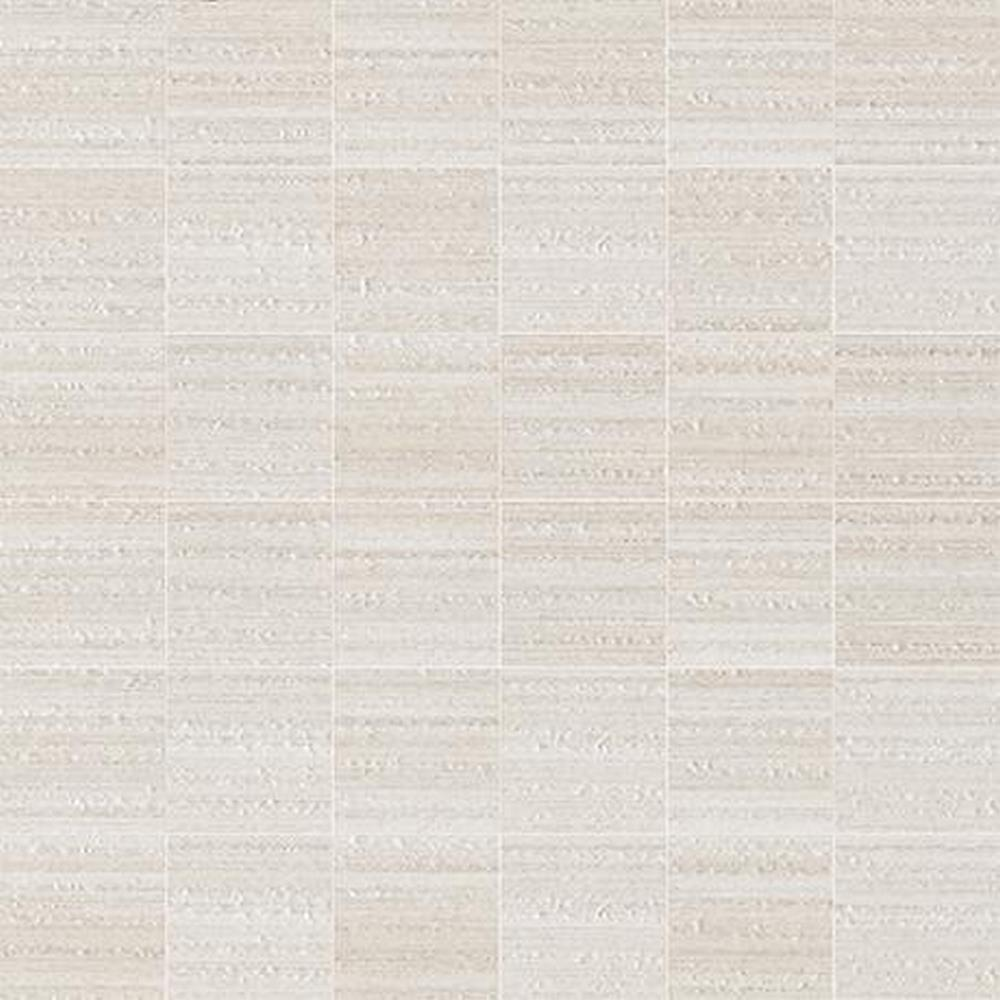 "Marazzi Lounge14 2"" x 2"" Square on a 12"" x 12"" Mesh Sheet Color Body Porcelain Stoneware Decorative Accent Tile - Spritzer ULJH (White)"