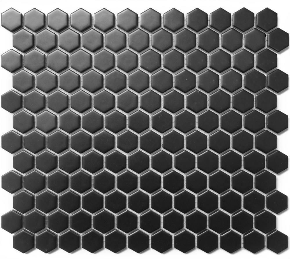 "Chesapeake Mosaics 1"" x 1"" Hexagon Glazed Porcelain Mosaic Tile - Matte Black"
