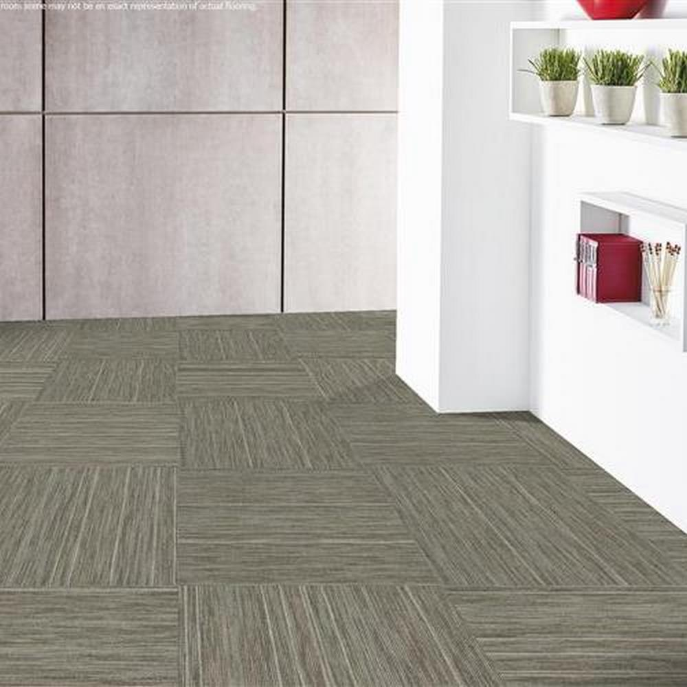 "Independence 24"" x 24"" Solution Dyed Nylon Modular Commercial Carpet Tile - Grit"