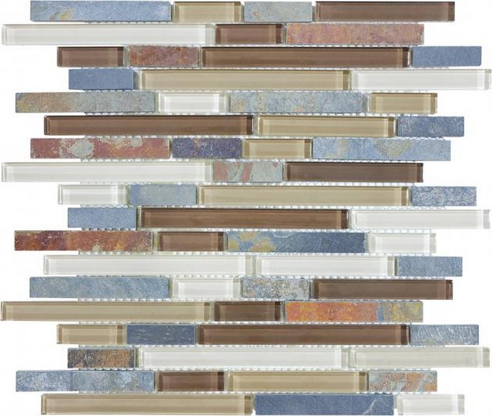 "Slate Glass 5/8"" x 5/8"" Linear Blend Mosaic-Amber Tea"