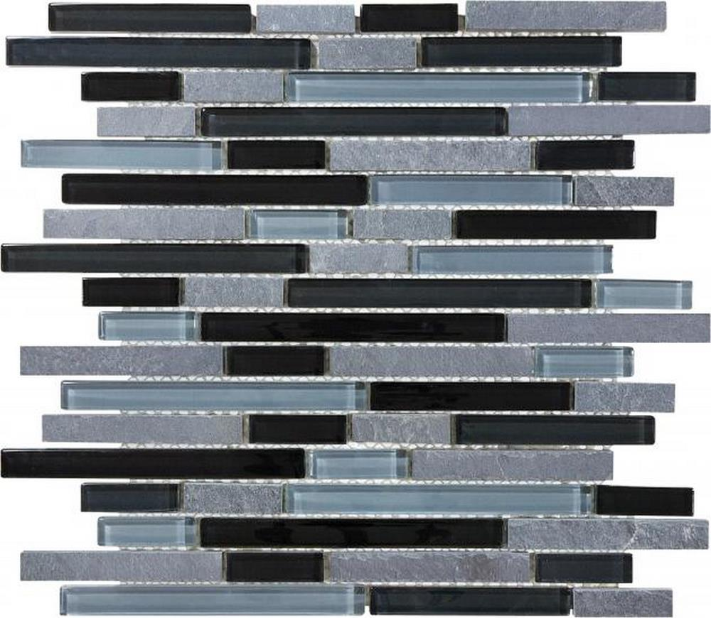 "Slate Glass 5/8"" x 5/8"" Linear Blend Mosaic-Black Timber"