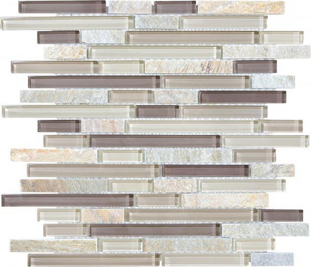 "Slate Glass 5/8"" x 5/8"" Linear Blend Mosaic-Cotton Wood"
