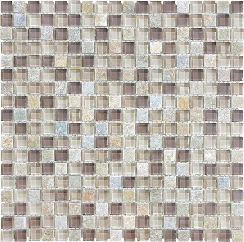 "Slate Glass 5/8"" x 5/8"" Mosaic-Cotton Wood"