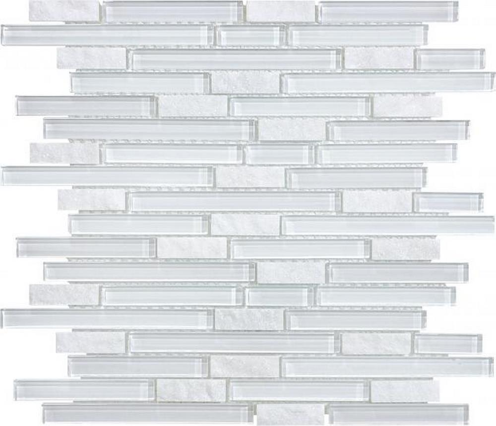 "Slate Glass 5/8"" x 5/8"" Linear Blend Mosaic-Norwegian Ice"