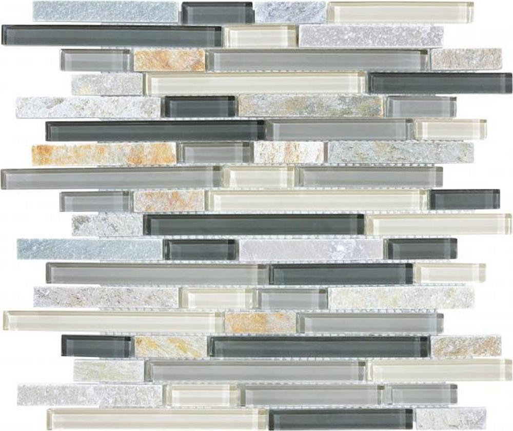 "Slate Glass 5/8"" x 5/8"" Linear Blend Mosaic-Silver Aspen"
