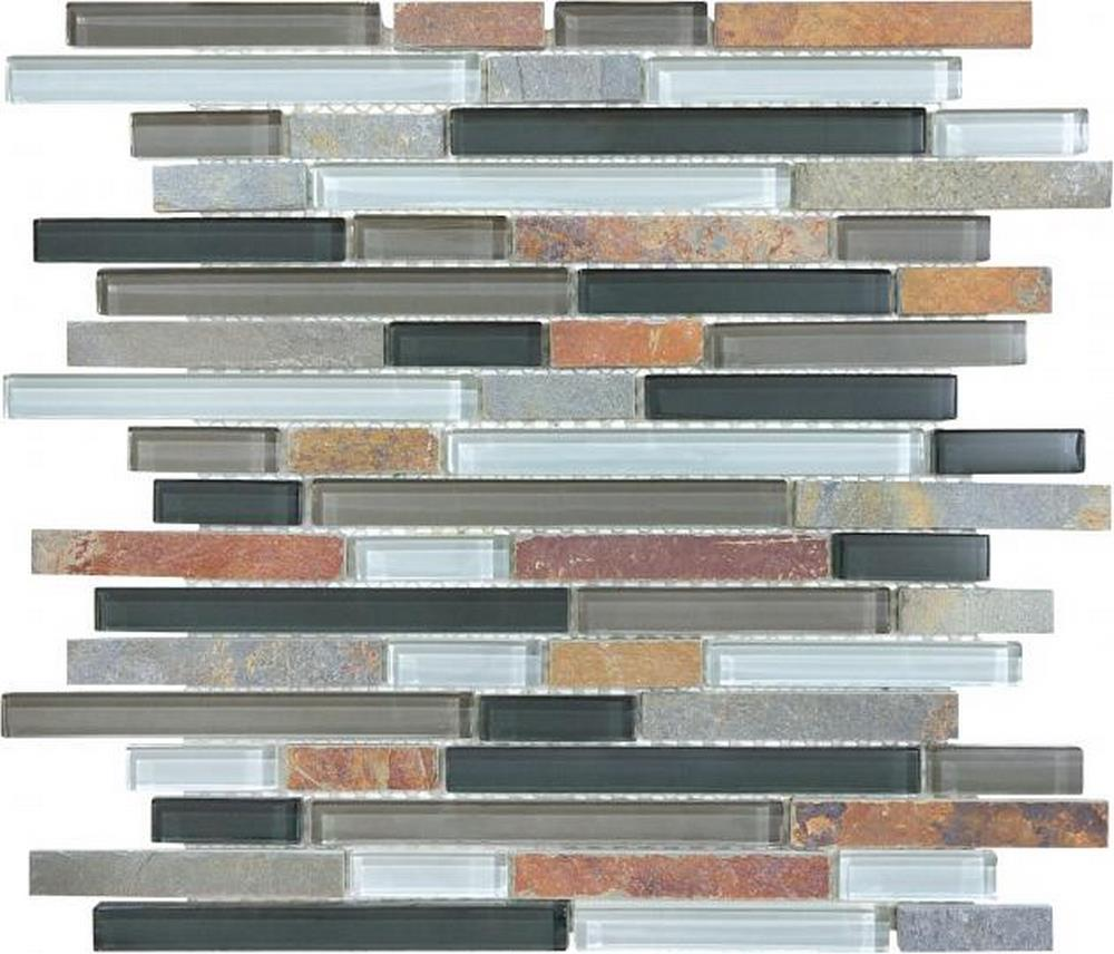 "Slate Glass 5/8"" x 5/8"" Linear Blend Mosaic-Smoky Mica"