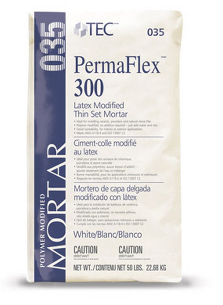 TEC 035 PermaFlex 300 Latex Modified Thin Set Mortar White - 50 Lb. Bag