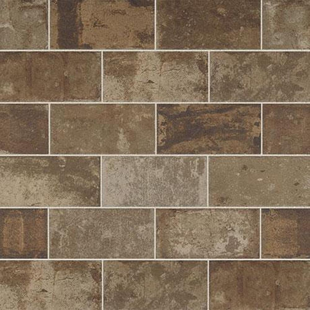 "Marazzi Urban District BRX 2"" x 8"" Glazed Ceramic Tile - Warehouse BRX UD04 (Brown)"